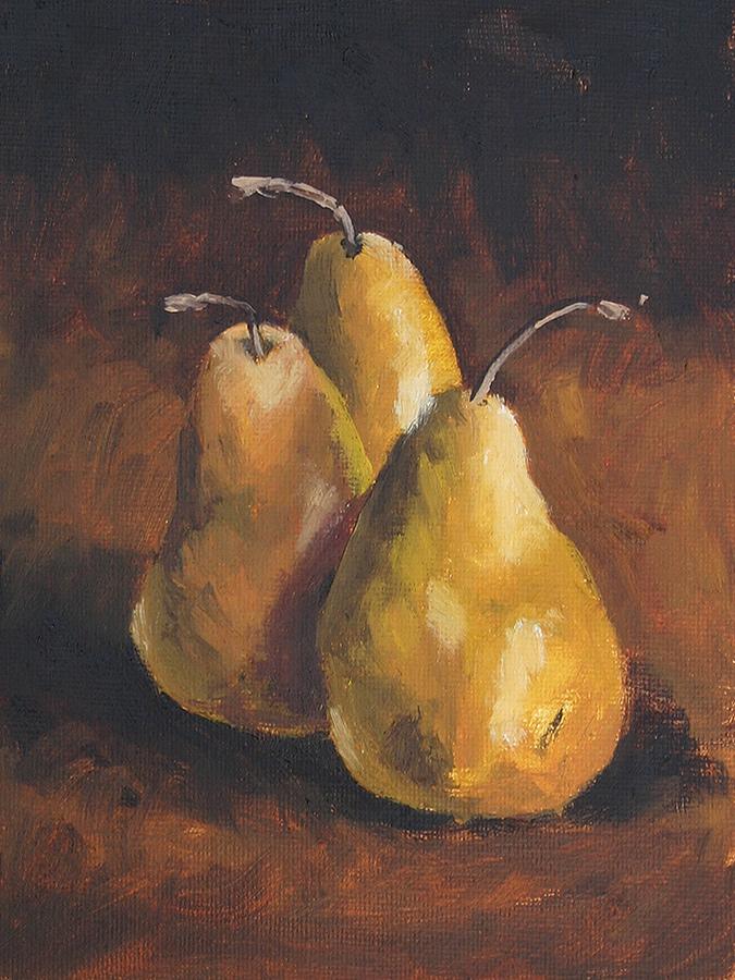 Three Bosc Pears - Impressionist Painting by Adam Houston