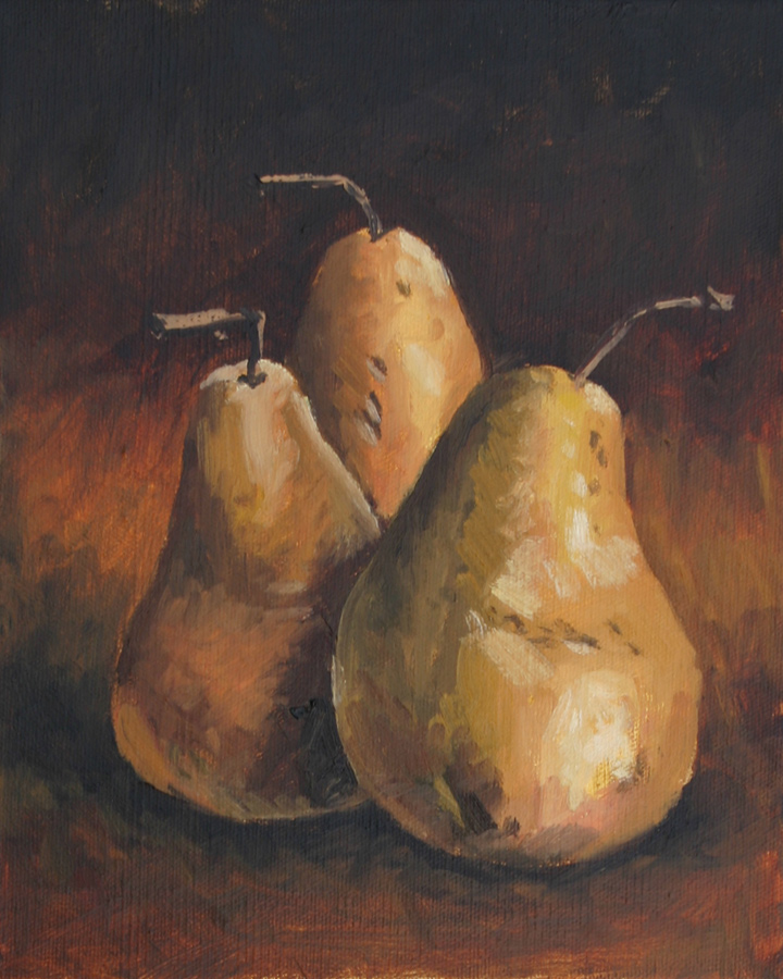 Three Bosc Pears II - Impressionist Painting by Adam Houston