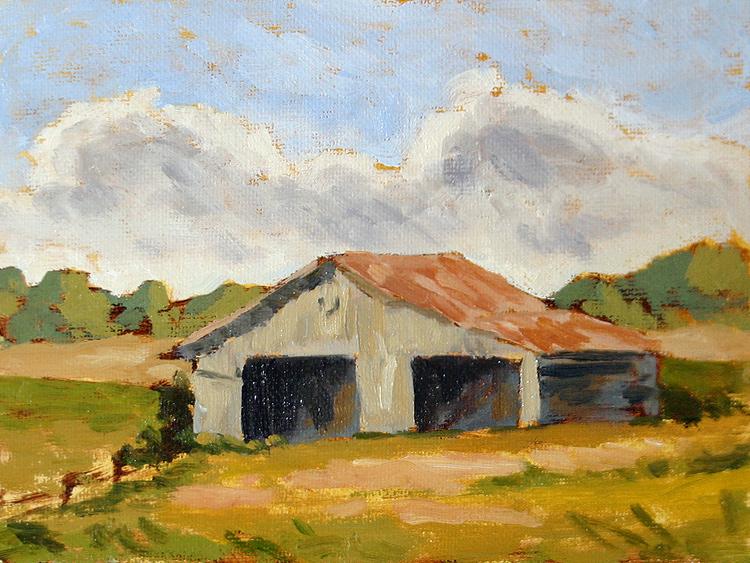Barn XI - Impressionist Painting by Adam Houston