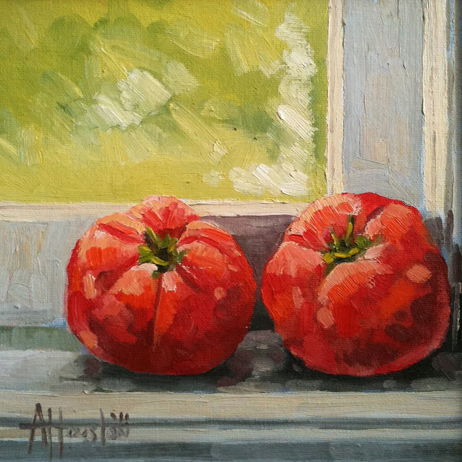 Home Grown Tomatoes - Impressionist Painting by Adam Houston
