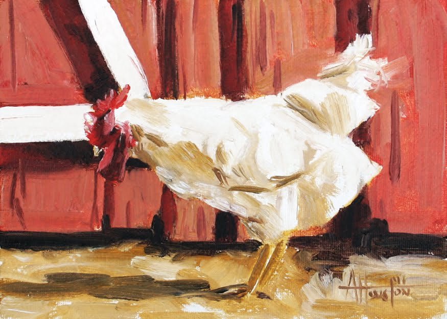 Barnyard Hen - Impressionist Painting by Adam Houston
