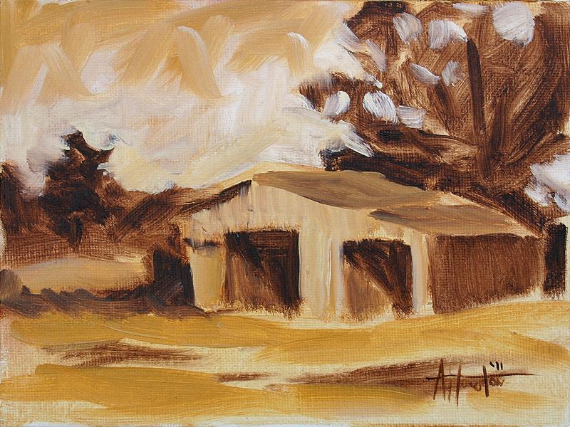 Barn I - Impressionist Painting by Adam Houston