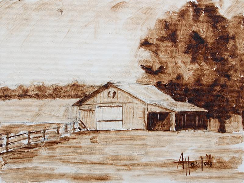Barn II - Impressionist Painting by Adam Houston