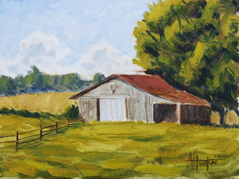 Barn V - Impressionist Painting by Adam Houston