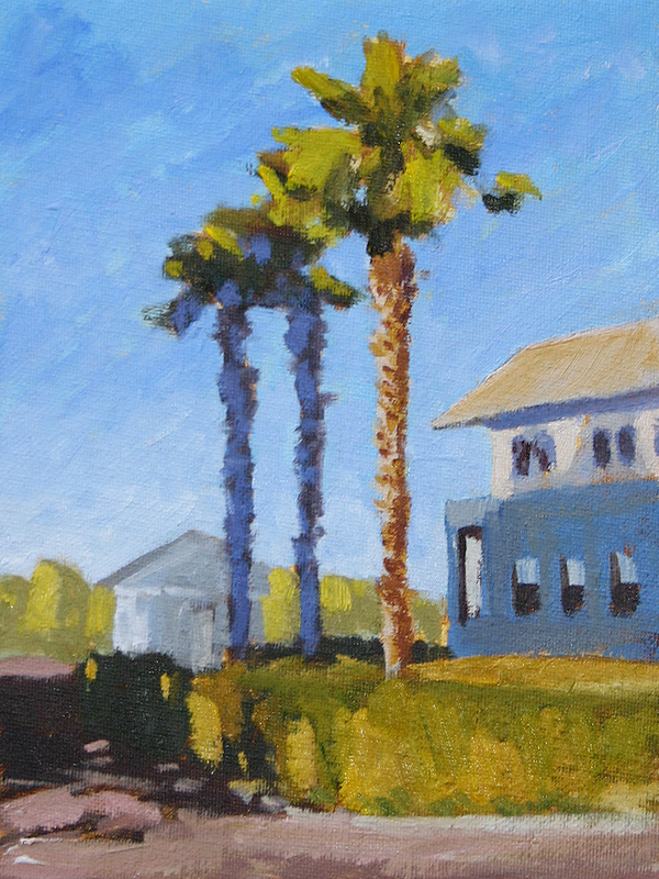 Seaside Ave. Palms - Impressionist Painting by Adam Houston