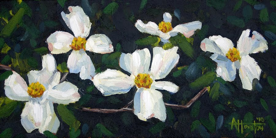 Spring Dogwoods III - Impressionist Painting by Adam Houston