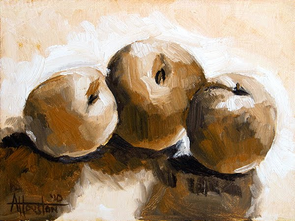 Three Peaches - Impressionist Painting by Adam Houston