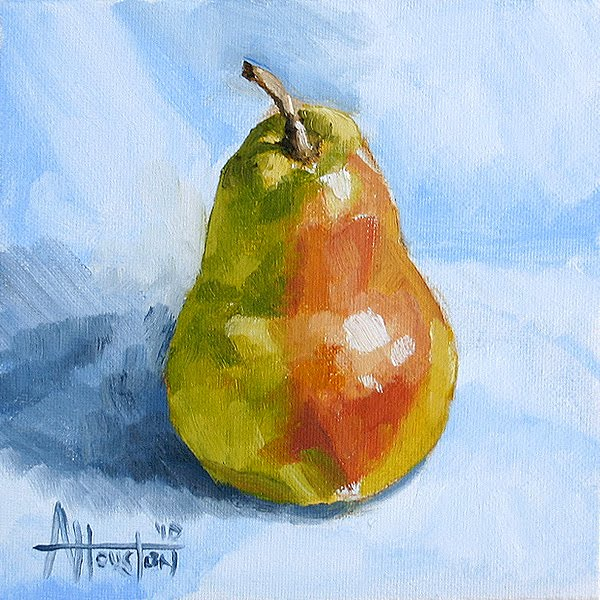 Pear on Blue - Impressionist Painting by Adam Houston