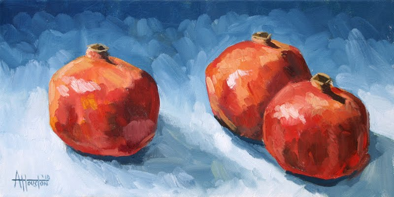 Pomegranates on Blue - Impressionist Painting by Adam Houston