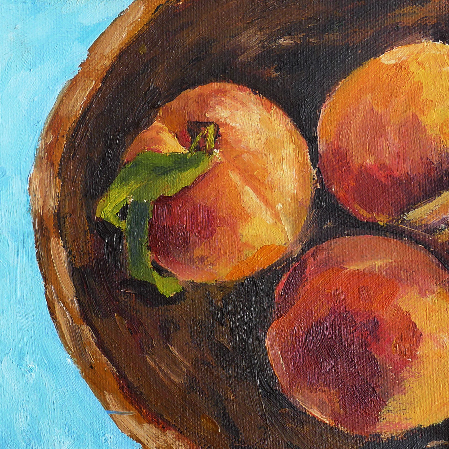 Peach Bowl - Impressionist Painting by Adam Houston