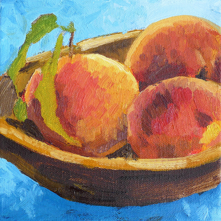 Peach Bowl II - Impressionist Painting by Adam Houston