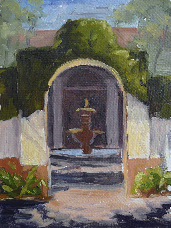 Sea Island Courtyard - Impressionist Painting by Adam Houston