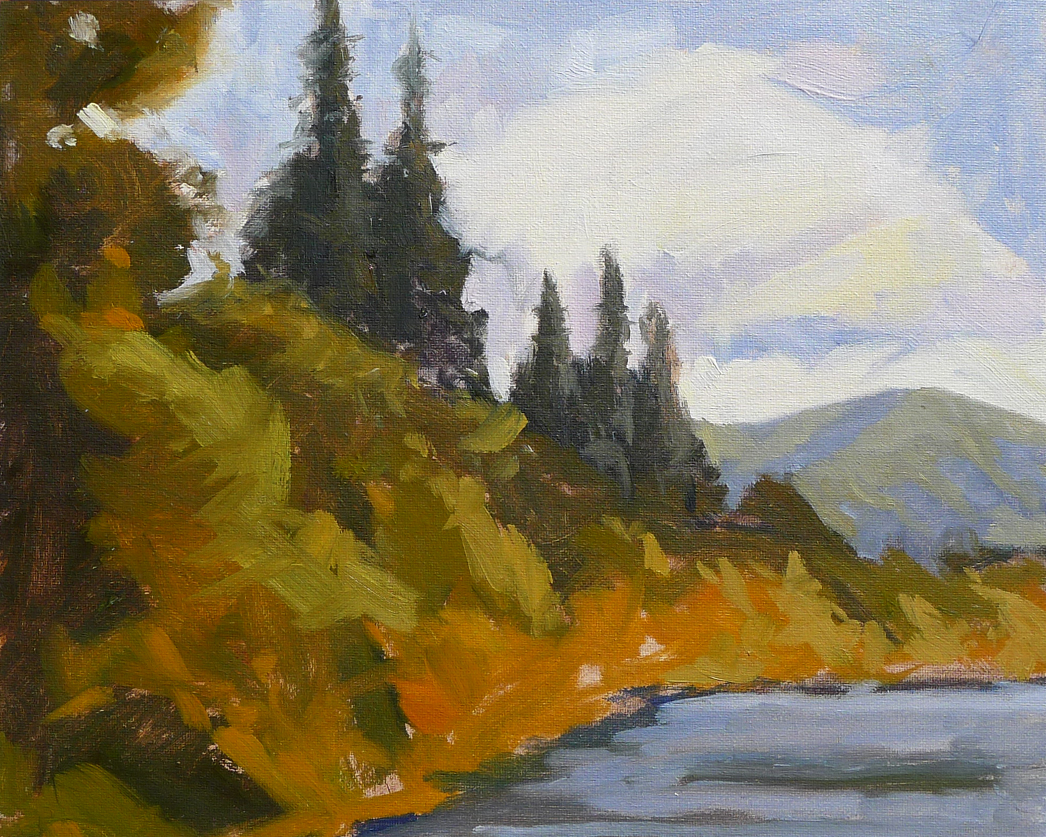 Lake View - Impressionist Painting by Adam Houston