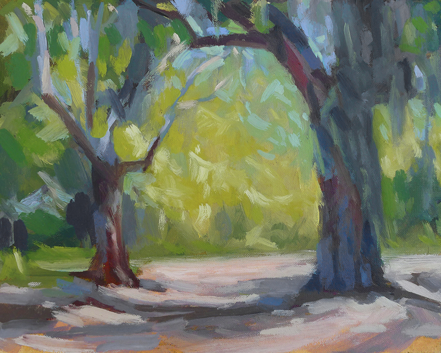St. Simons Oaks - Impressionist Painting by Adam Houston