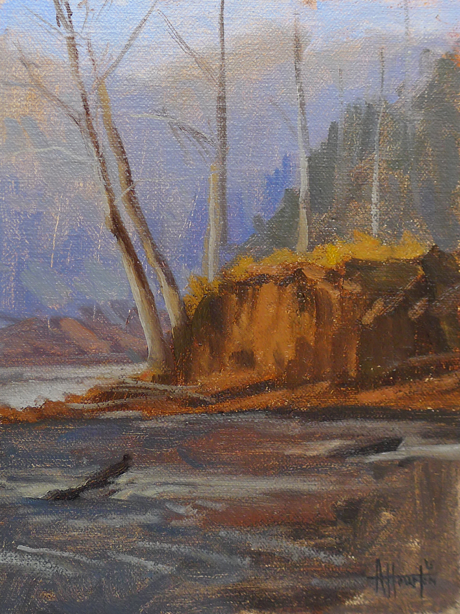 Bowmans Island Bluff - Impressionist Painting by Adam Houston