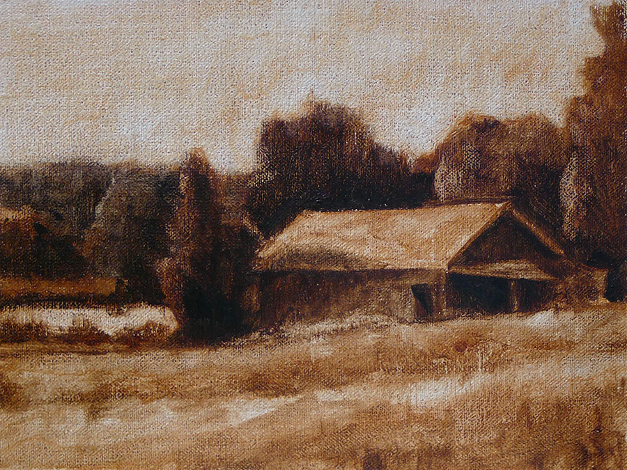 Caney Road Barn - Impressionist Painting by Adam Houston