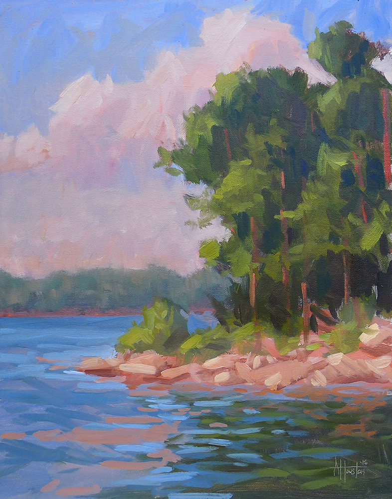 Lake Lanier Sunset - Impressionist Painting by Adam Houston