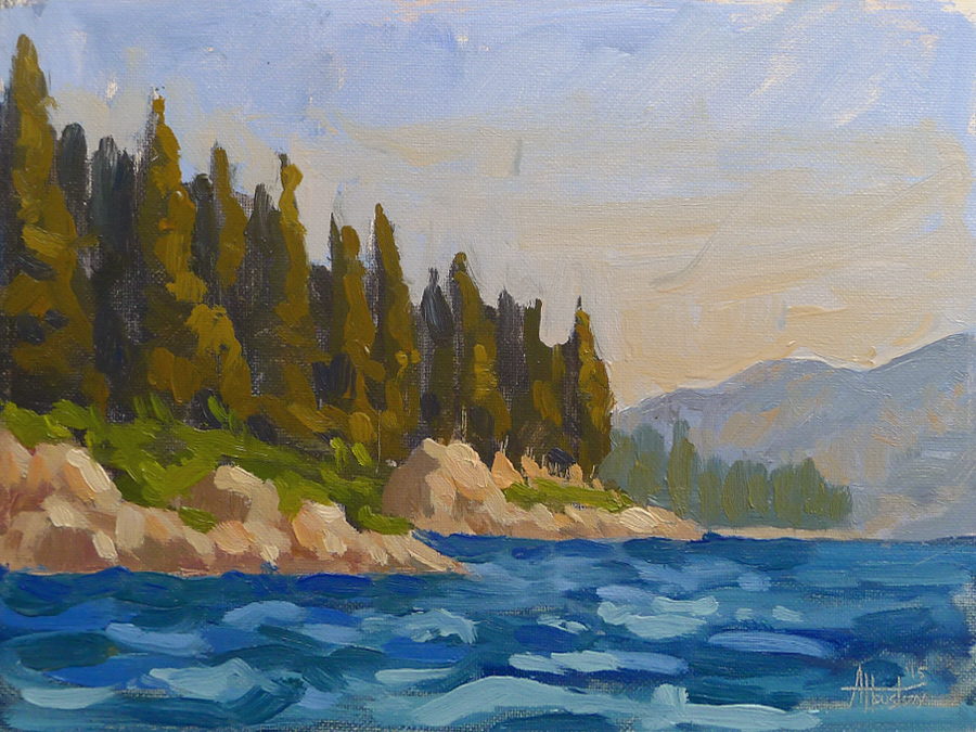 Emerald Bay - Impressionist Painting by Adam Houston