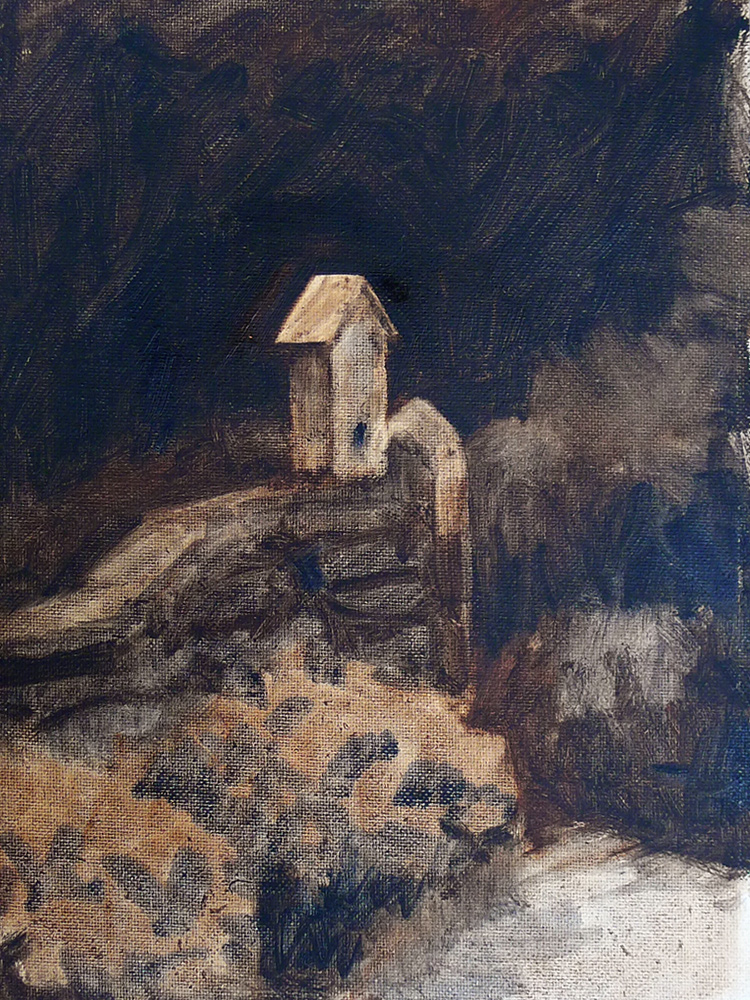 Highlands Birdhouse (Study) - Impressionist Painting by Adam Houston