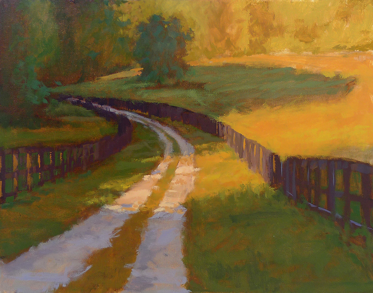 Sunlit Drive - Impressionist Painting by Adam Houston