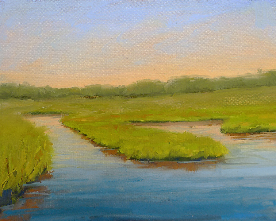 Sunrise over the Marsh - Impressionist Painting by Adam Houston