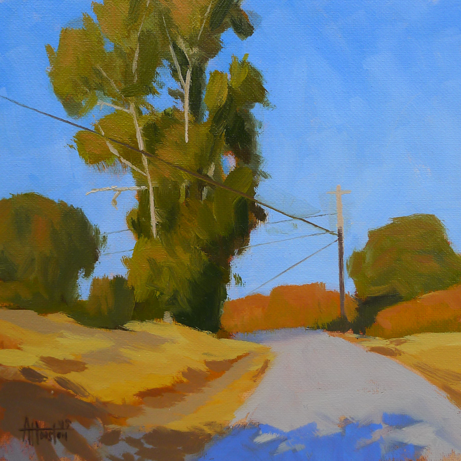 Ranch Gate Road Tree - Impressionist Painting by Adam Houston