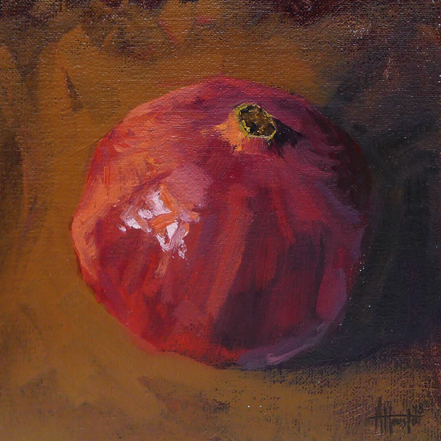 Single Pomegranate - Impressionist Painting by Adam Houston