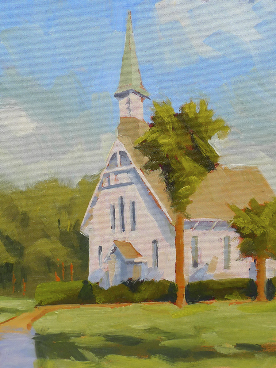 Lovely Lane Chapel - Impressionist Painting by Adam Houston