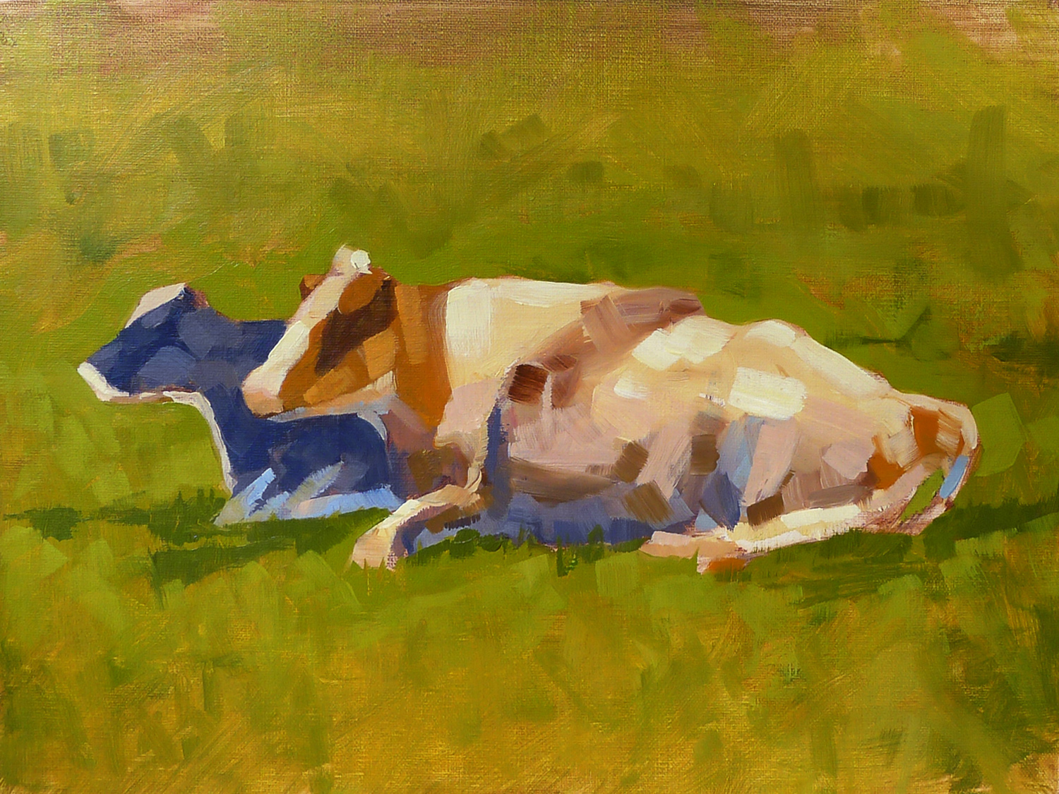 Cows in a Field - Impressionist Painting by Adam Houston