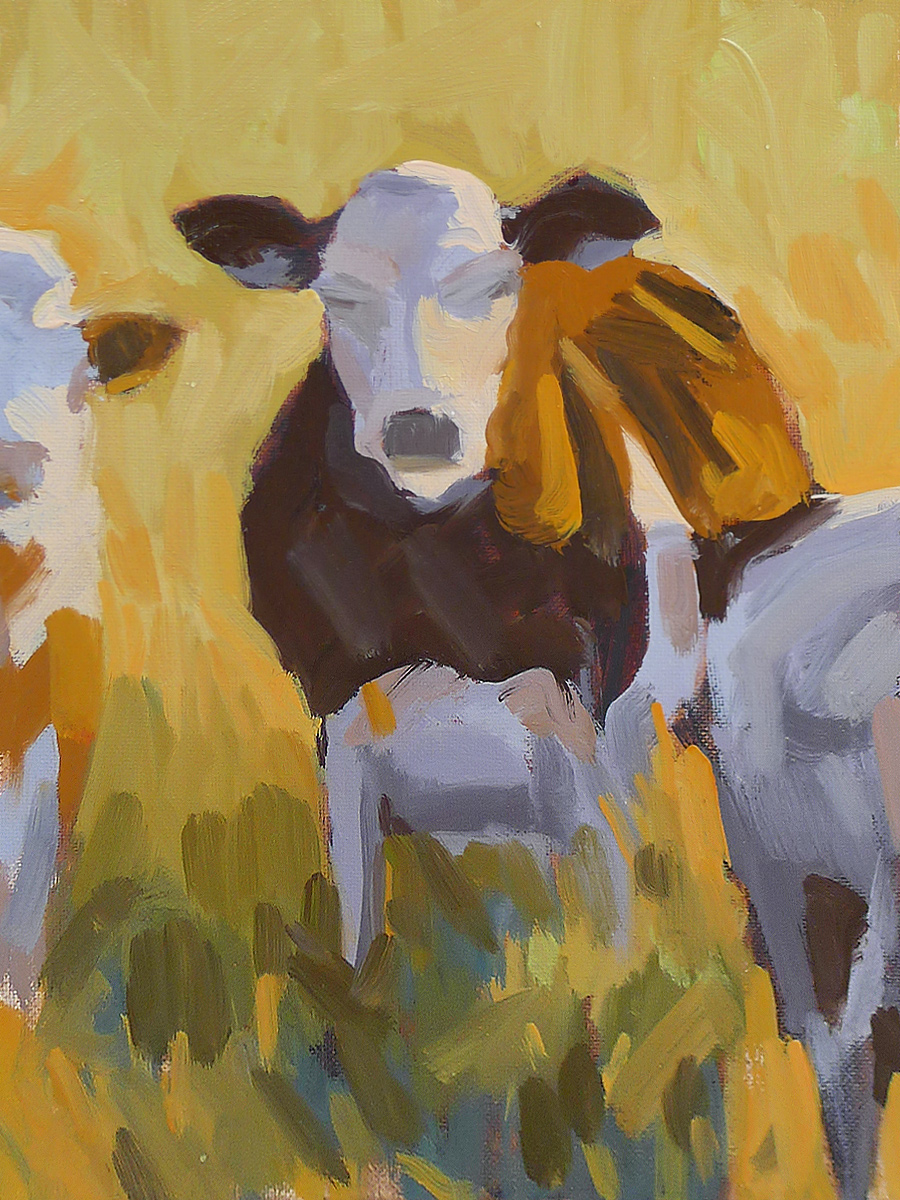 Sunlit Cow - Impressionist Painting by Adam Houston