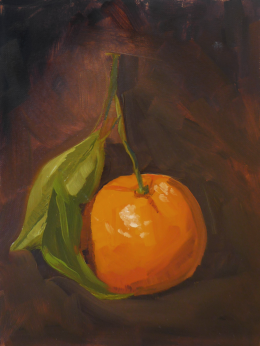 Orange with Two Leaves - Impressionist Painting by Adam Houston