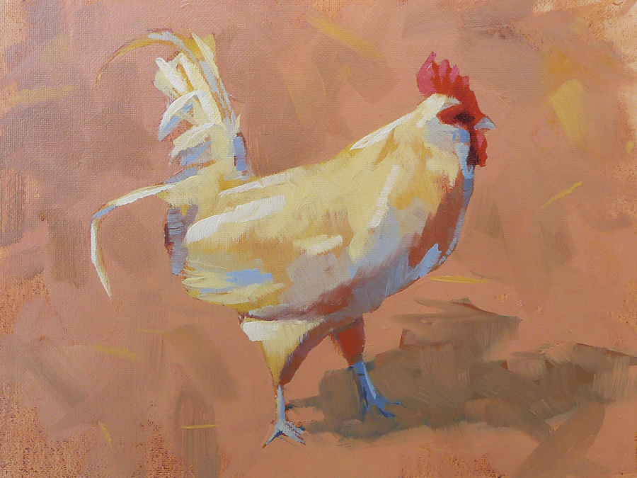 Barnyard Rooster - Impressionist Painting by Adam Houston