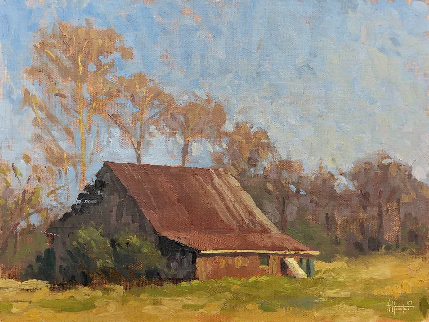Sunlit Barn - Impressionist Painting by Adam Houston