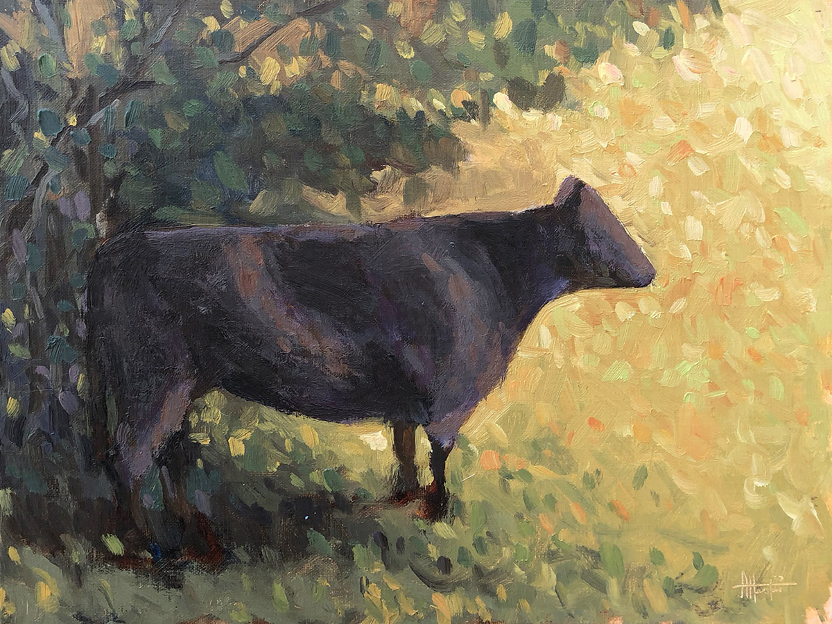Brimscombe Hill Cow - Impressionist Painting by Adam Houston