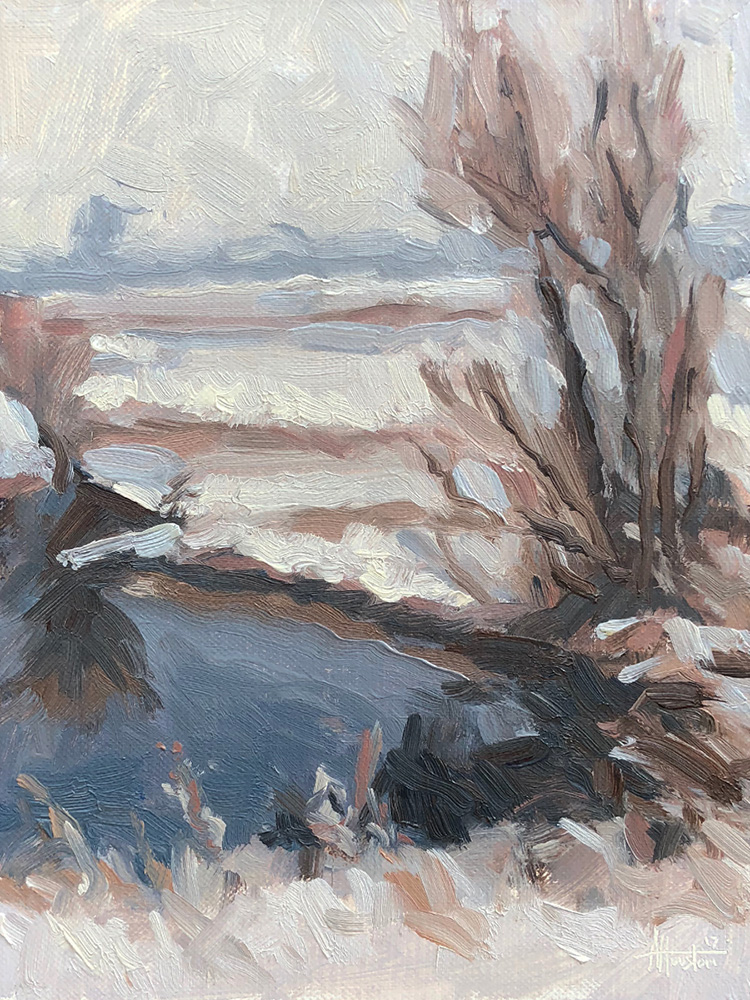 Winter on the River Gryffe - Impressionist Painting by Adam Houston